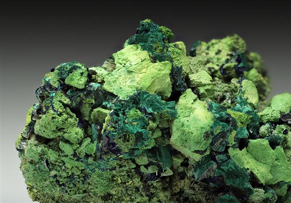 Gartrellite with Azurite and Malachite ps. after Azurite