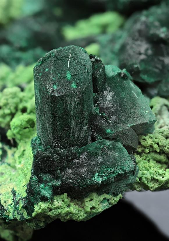 Malachite ps. after Azurite with Bayldonite ps. after Mimetite