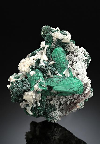 Malachite ps. after Azurite with Cerussite