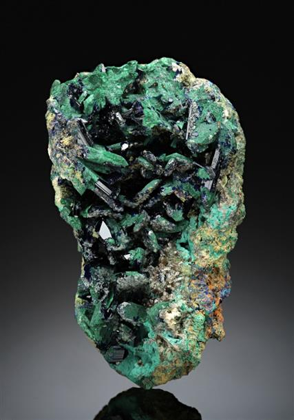 Azurite with Malachite, Wulfenite, Rosasite, Smithsonite and Bayldonite