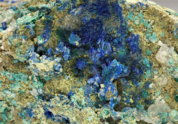 Linarite with Caledonite, Cerussite and Malachite