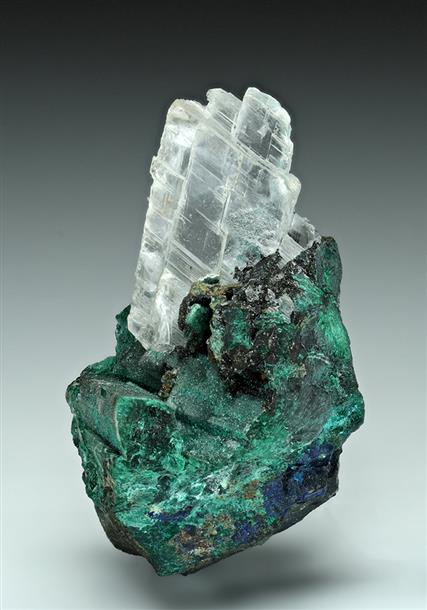 Gypsum on Malachite ps. after Azurite
