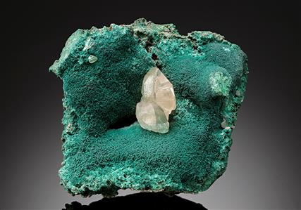 Cerussite with Rosasite on Malachite