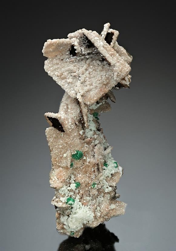 Wulfenite with Dolomite, Cerussite and Malachite