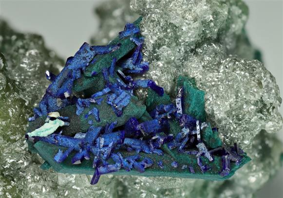 Azurite on Malachite pseudomorph after Tennantite on Cuprian Smithsonite