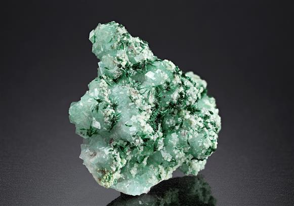 Malachite with Calcite and Dioptase