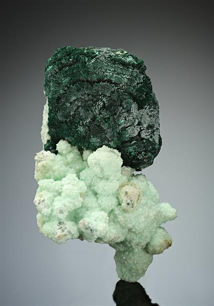 Malachite after Azurite on Cuprian Smithsonite