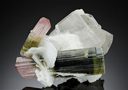 Elbaite Tourmaline on Albite