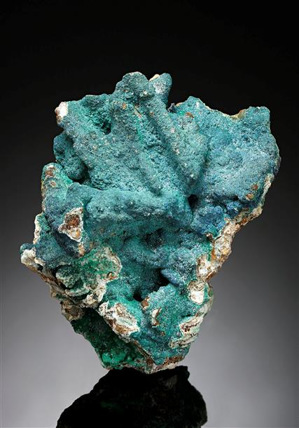 Azurite with Malachite on Baryte