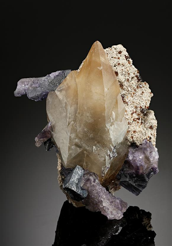 Fluorite with Calcite, Sphalerite and Galena