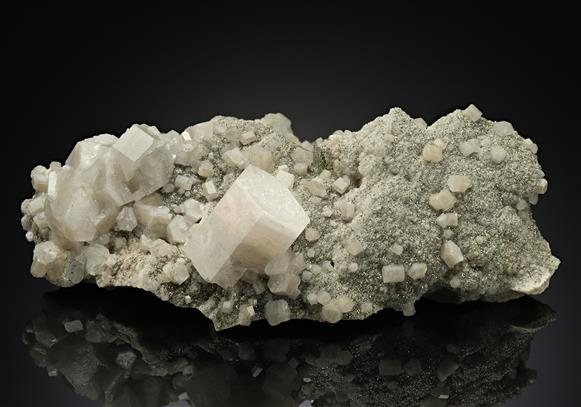 Calcite with Pyrite on Fluorite