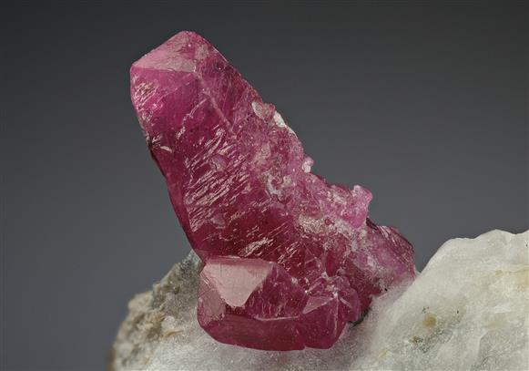 Corundum Var. Ruby with Dravite in Marble