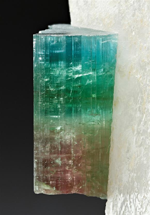 Elbaite Tourmaline on Quartz