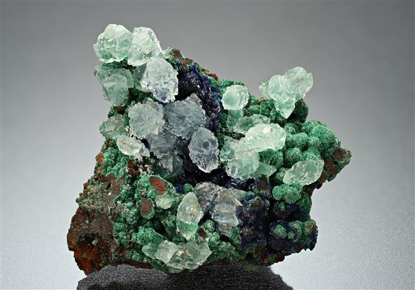 Calcite with Azurite and Malachite
