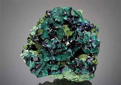 Azurite with Malachite pseudomorph after Azurite