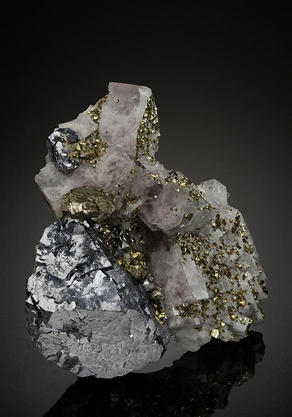 Fluorite with Galena and Chalcopyrite