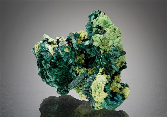 Malachite pseudomorph after Azurite with Gartrellite