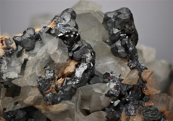 Acanthite with Proustite and Calcite