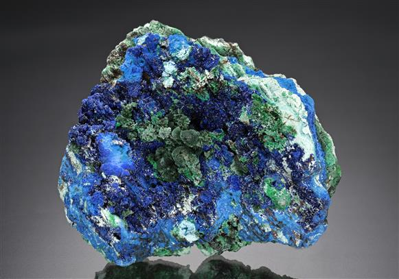 Olivenite on Azurite