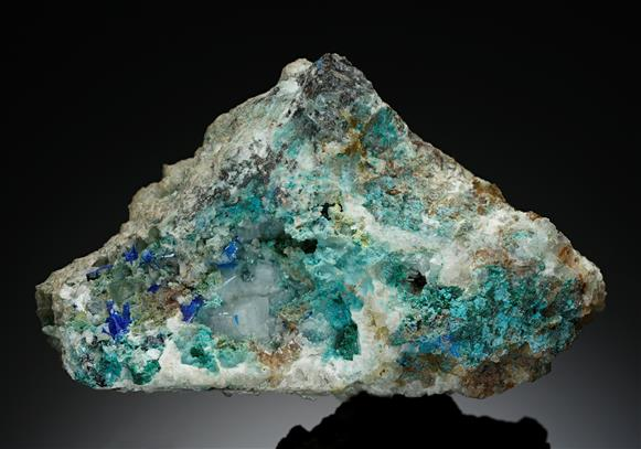 Linarite with Malachite and Cerussite