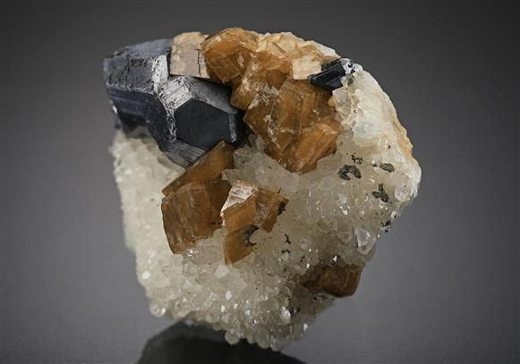 Galena with Siderite on Quartz