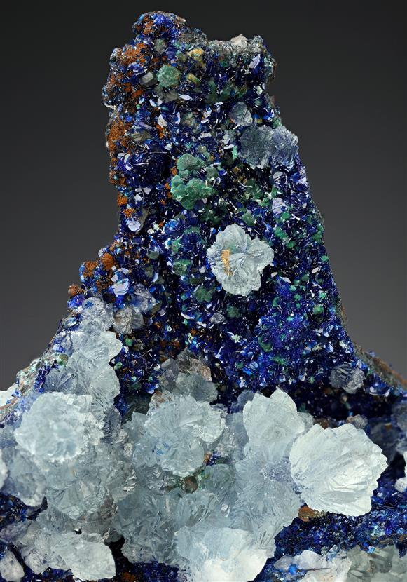Azurite with Calcite and Malachite ps. after Cuprite