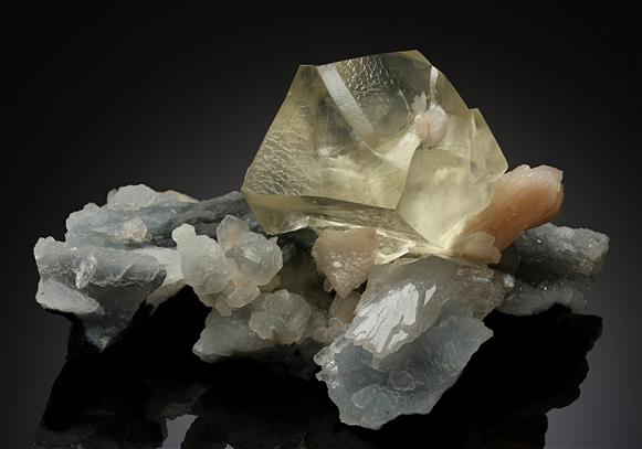 Calcite with Stilbite on Chalcedony