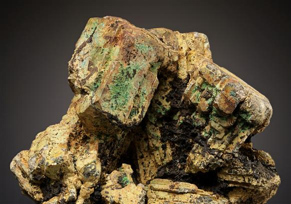 Bindheimite ps. after Bournonite with Malachite