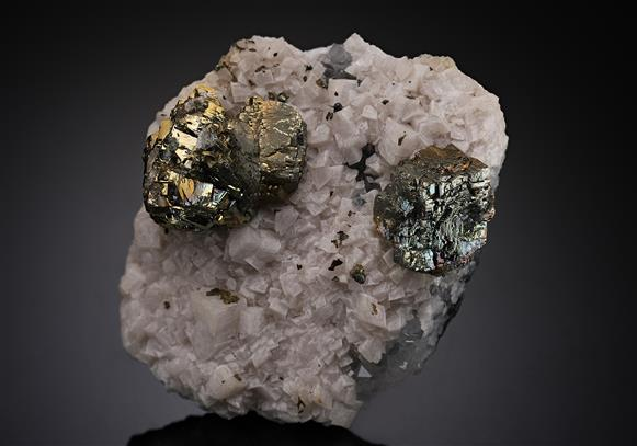 Pyrite and Calcite on Quartz