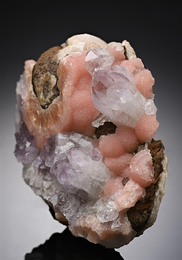 Quartz var. Amethyst on Rhodochrosite