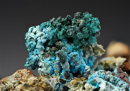 Chalcoalumite, Ajoite and Brochantite on Native Copper and Cuprite