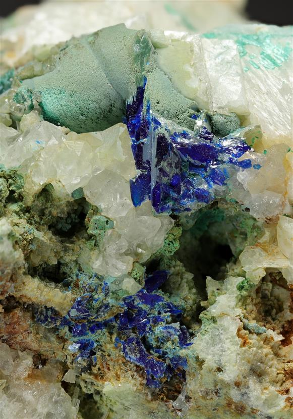 Linarite with Malachite