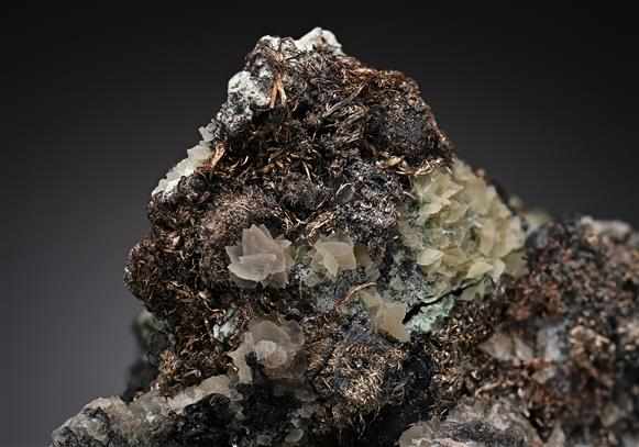 Native Silver with Proustite and Calcite on Native Arsenic