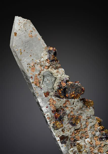 "Fluorite with Chalcopyrite, Scheelite and ""Zinnwaldite"" on Quartz"