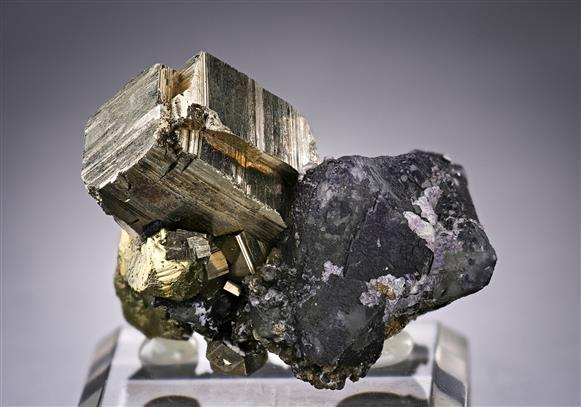 Fluorite with Pyrite and Chalcopyrite
