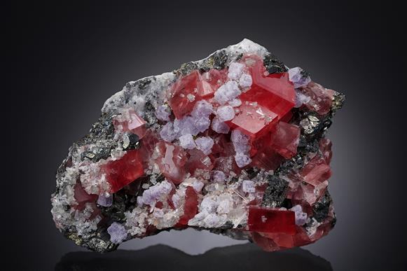 Rhodochrosite with Fluorite and Sphalerite