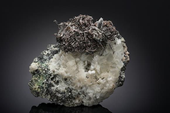 Native Silver with Calcite