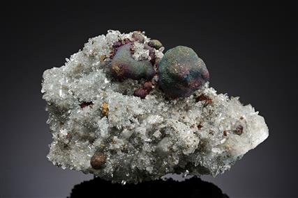 Bornite with Pyrite on Quartz