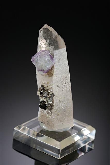 Fluorite with Pyrite on Quartz