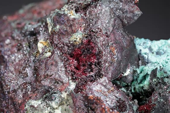 "Cuprite Var ""Chalcotrichite"" with Copper and Malachite"