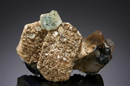 Fluorapatite with Quartz, Schorl and Muscovite on Orthoclase