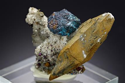 Bornite with Calcite and Quartz