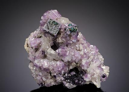 Fluorite with Fluorapatite, Chalcopyrite and Quartz