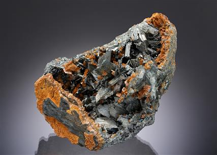 Zinkenite with Chalcostibite and Siderite