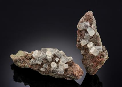 Calcite on Goethite included Quartz (2 pieces)