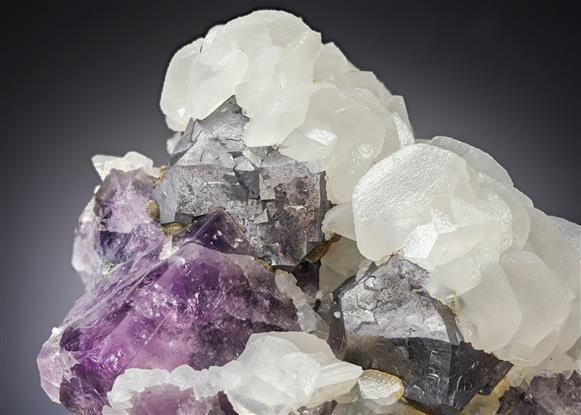 Galena with Calcite on Fluorite