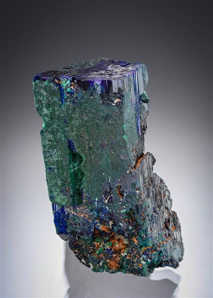 Malachite ps. after Azurite on Azurite