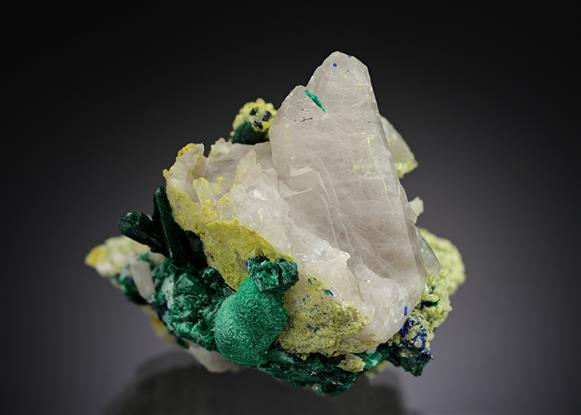Quartz with Malachite and Azurite