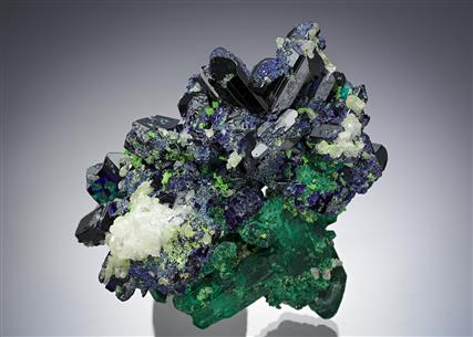 Malachite pseudomorph after Azurite with Azurite