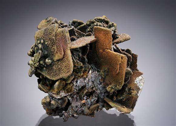 Wulfenite with Goethite, Mottramite and Smithsonite